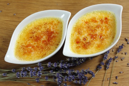 brulee: Creme brulee. Traditional French vanilla cream dessert with caramelised sugar on top.  Stock Photo