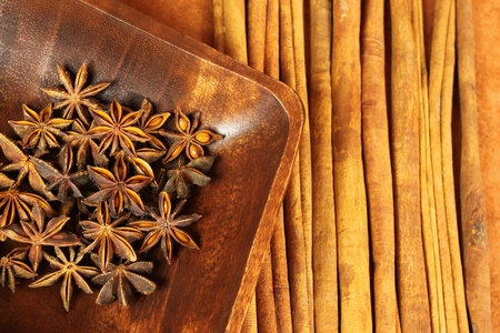 aniseed: Christmas spices. Cooking ingredients: cinnamon sticks and star anise.