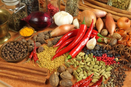 food additives: Spices and herbs choice. Aromatic ingredients and natural food additives. Cuisine elements.