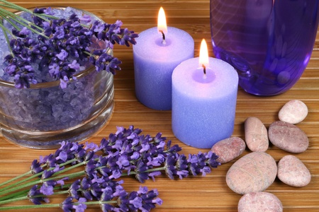 crystal therapy: Spa resort and wellness composition - lavender flowers, coloured bathing salt