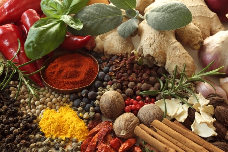 additives: Herbs and spices selection. Aromatic ingredients and natural food additives.