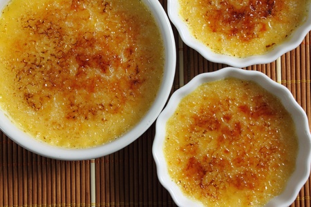 brulee: French dessert - creme brulee. Sweet caramelized custard.