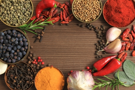 Various spices selection. Food ingredients and aromatic additives. photo