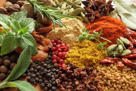 mace: Herbs and spices selection. Aromatic ingredients and natural food additives.