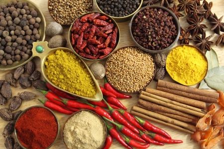 Spices and herbs in metal  bowls. Food and cuisine ingredients. Colorful natural additives. Stock Photo - 14787193