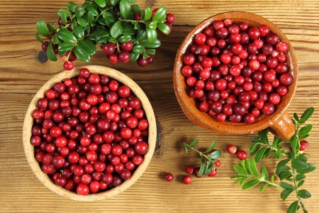 Cowberries in ceramic pot and wooden bowl on wooden background. photo