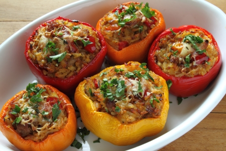 balkan: Stuffed paprika with meat, rice and vegetables.
