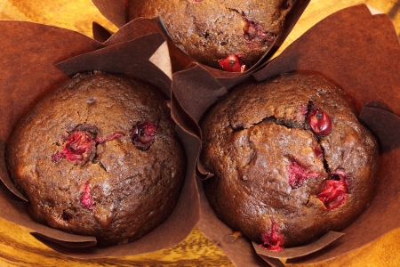 baked goods: Freshly baked chocolate muffins with cranberries