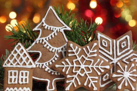 christmas food: Gingerbread cookies and colored lights. Christmas decoration.