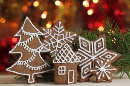 Gingerbread cookies and colored lights. Christmas decoration. Stock Photo - 16835298