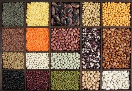 leguminosas: Los frijoles, arvejas, lentejas. Cocina elección. Ingredientes de cocina.