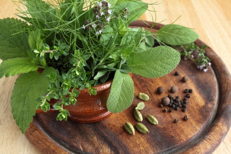 Bunch of fresh aromatic herbs in a ceramic pot.  photo