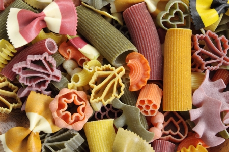 Multicolored italian pasta, horizontal background  photo