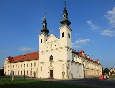 ornated: Order of Brothers Hospitallers  church in Valtice. Czech Republic.