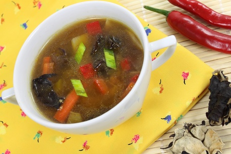 mushroom soup: Chinese soup, Chinese style soup with mushroom, vegetables and chicken Stock Photo