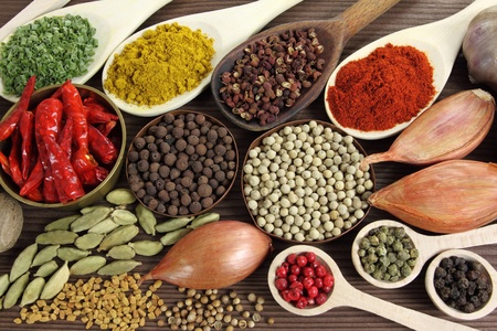 indian spices: Spices and herbs in metal  bowls and wooden spoons. Food and cuisine ingredients. Stock Photo