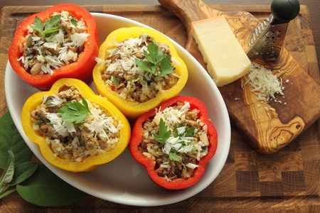 capsicums: Stuffed paprika with meat, rice and vegetables.