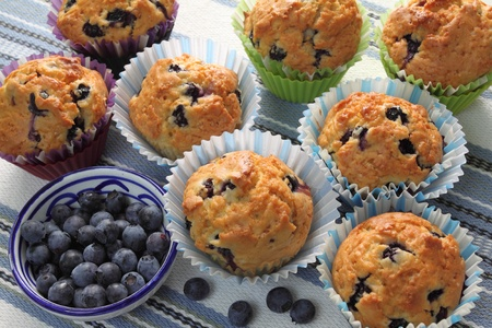Berries and homemade blueberry muffins. photo