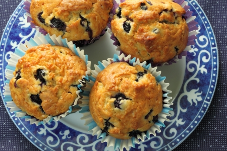 Homemade blueberry muffins on a plate. photo