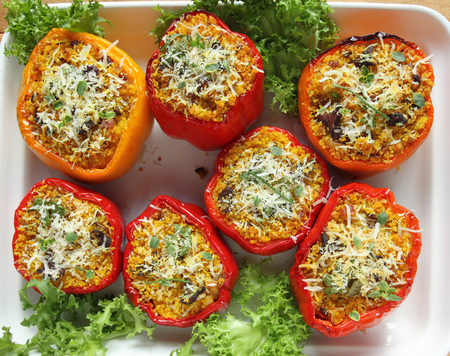 capsicums: Stuffed paprika with meat, pearl cous cous and mushrooms