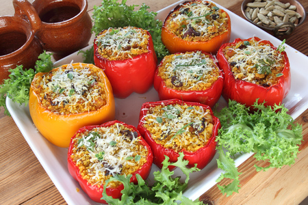 Stuffed paprika with meat, pearl cous cous and mushrooms photo