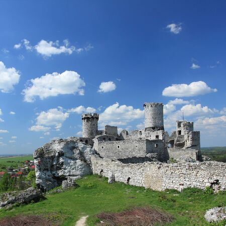 square composition: The old castle ruins of Ogrodzieniec fortifications, Poland. Square composition.