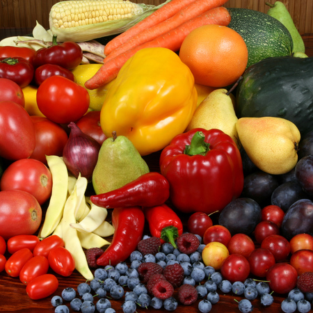 Delicious, colorful variety of fresh  fruits and vegetables photo