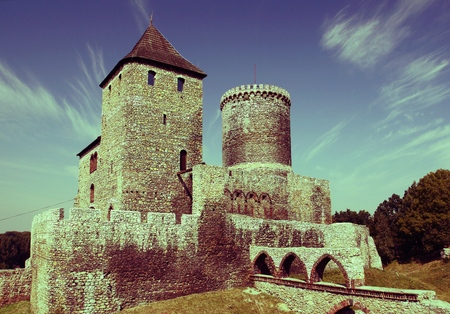 cross processed: Bedzin castle - old landmark of Upper Silesia region of Poland. Cross processed vintage color tone - retro style filtered image. Editorial