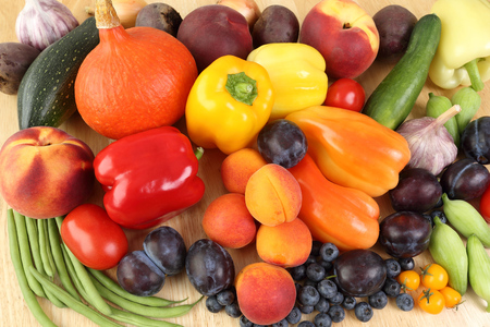 Delicious, colorful variety of fresh  fruits and vegetables. photo