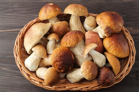 edulis: Fresh boletus mushrooms on a wooden table