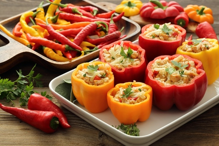 Stuffed paprika with meat, rice and vegetables. photo