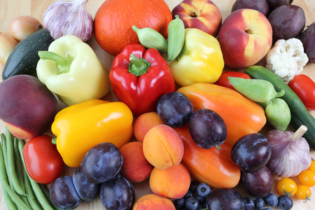 tomatos: Delicious, colorful variety of fresh  fruits and vegetables.