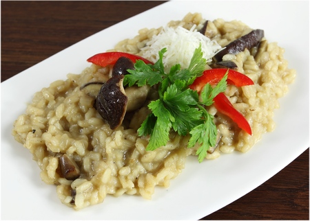 risotto: Risotto with mushrooms, with cheese and parsley.
