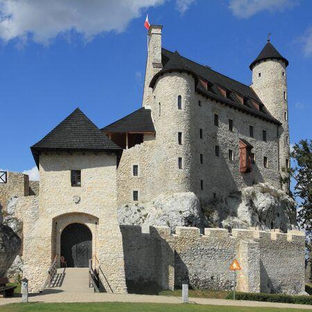 bobolice: Bobolice castle - old fortress in Poland. Landmark in Europe. Square composition. Editorial