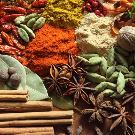food additives: Herbs and spices selection. Aromatic ingredients and natural food additives. Square composition. Stock Photo