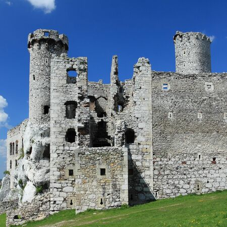 The old castle ruins of Ogrodzieniec fortifications, Poland. Square composition.