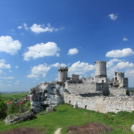 ogrodzieniec: The old castle ruins of Ogrodzieniec fortifications, Poland. Square composition.
