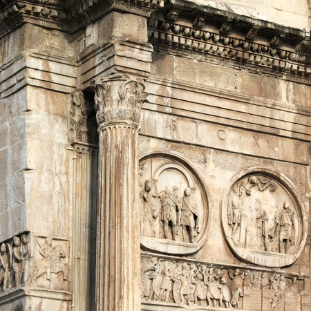 Arch of Constantine (Arco Constantino) - Roman empire ancient landmark in Rome, Italy. Square composition.