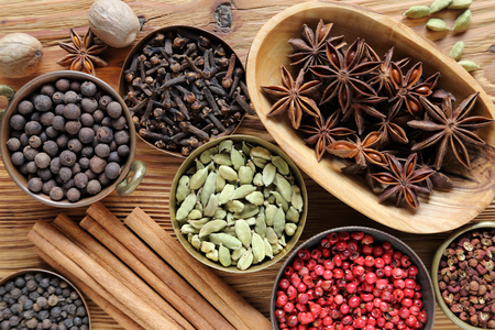 food additives: Aromatic spices in brown. Cooking ingradients and natural food additives.