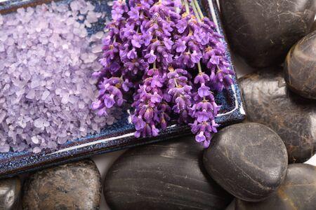 aromas: Spa resort and wellness composition - lavender flowers, coloured bathing salt