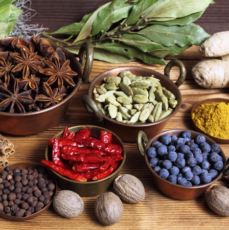 food additives: Spices and herbs in metal  bowls. Food and cuisine ingredients. Colorful natural additives.