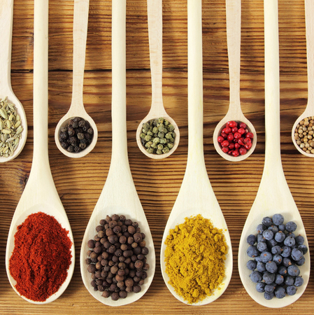 spoon yellow: Colorful spices in wooden spoons - beautiful kitchen image.