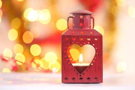 golden light: Red Christmas lantern. Bokeh background golden light.