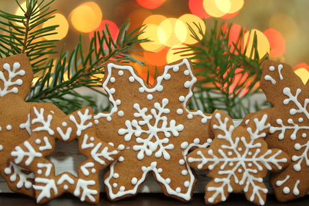 gingerbread cookies: Christmas homemade gingerbread cookies. Stock Photo