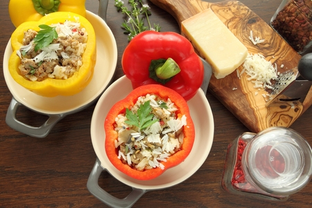 pimenton: Stuffed paprika with meat, rice and vegetables.