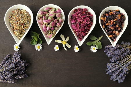 fragrant scents: Rose flower petals and buds for aromatherapy. Dried lavender.