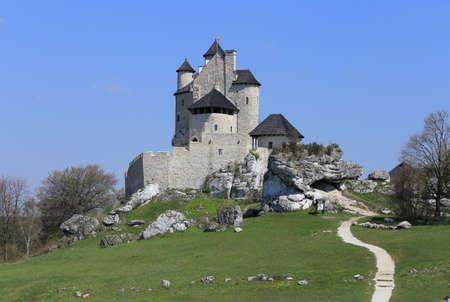 bobolice: Bobolice castle - old fortress in Poland. Landmark in Europe. Stock Photo