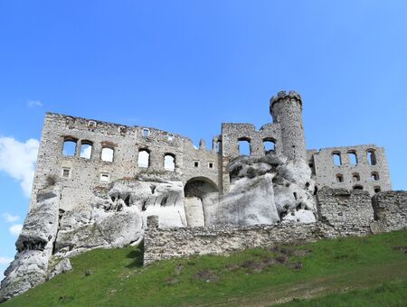 ogrodzieniec: The old castle ruins of Ogrodzieniec fortifications, Poland. Stock Photo