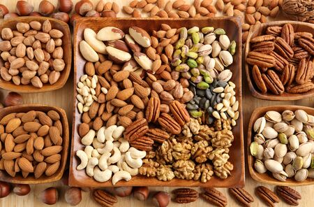 assorted: Varieties of nuts: kashew, hazelnuts,  walnuts,  pistachio and pecans. Food and cuisine.