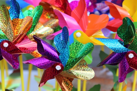 color design: Collection of multicolored plastic  pinwheel of different colors. Stock Photo